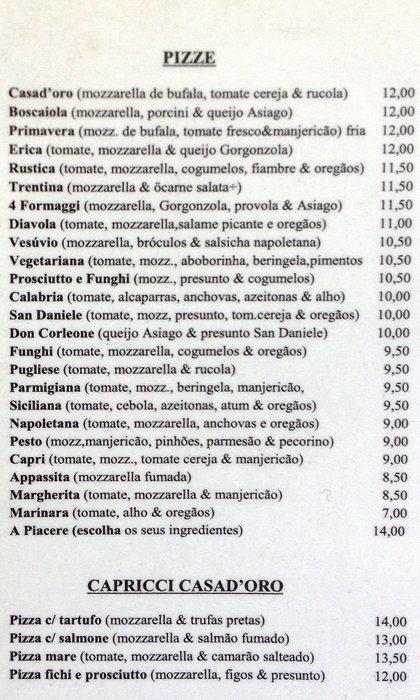 menu pizzas - casa doro